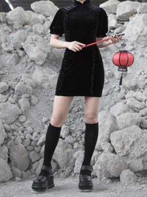 Gothic Velvet Short Lantern Sleeves Qi Mini Dress by Violent Groceries