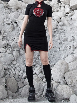 Gothic Short Sleeves Rose Dragon Embroidered Side Slit Qi Mini Dress by Violent Groceries