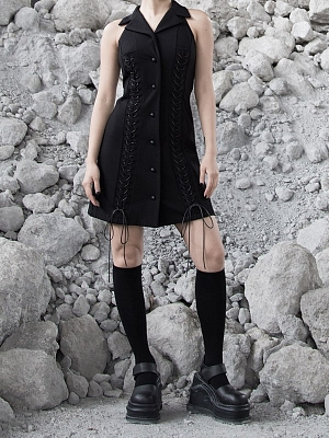 Gothic Notched Collar Sleeveless Lace-up Dress by Violent Groceries