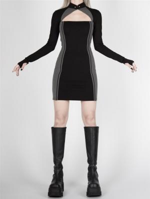 Cyberpunk Future Sense Stand Collar Long Sleeves Qi Mini Dress