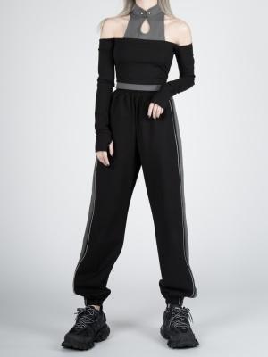 Cyberpunk Future Sense Stand Collar Open Shoulder Long Sleeves Top