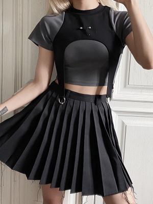 Cyberpunk Future Sense Hot Girl Round Neckline Short Sleeves Cropped Top