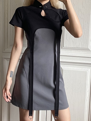 Cyberpunk Future Sense Two-pieces Stand Collar Short Sleeves Cropped Top and Cami Dress