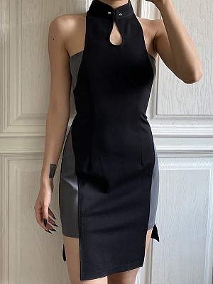Cyberpunk Future Sense Stand Collar Sleeveless Irregualr Qi Dress