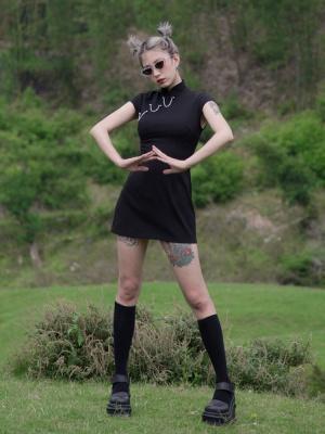 Perforation 2.0 Series Punk Short Sleeves Metal Chain Qi Mini Dress