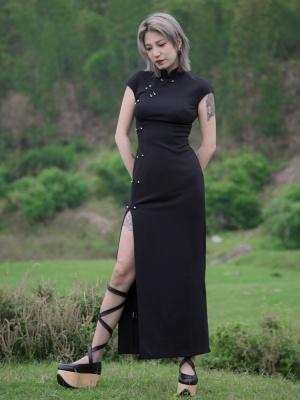 Perforation 2.0 Series Punk Stand Collar Short Sleeves High Slit Qi Dress