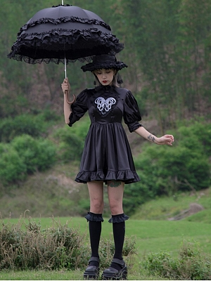 Love of Medusa Gothic Stand Collar Short Lantern Sleeves Embroidered Dress