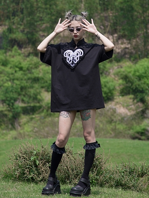 Love of Medusa Gothic Stand Collar Short Sleeves Embroidered T-shirt