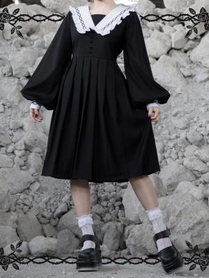 Gothic Rose Thorns Sailor Collar Long Lantern Sleeves Dress