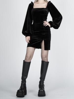 Gothic Velvet Square Neckline Lantern Sleeves Side Slit Mini Dress by Violent Groceries