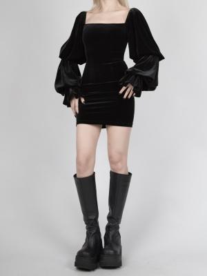 Gothic Velvet Square Neckline Double-layer Lantern Sleeves Mini Dress