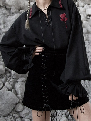 Gothic Rose Thorns Long Lantern Sleeves Embroidered Shirt