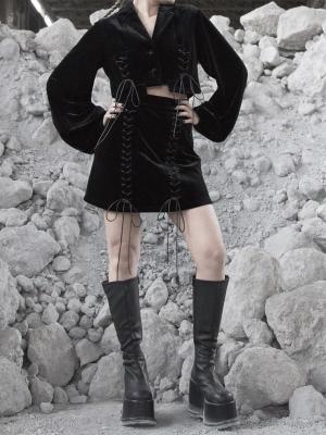 Gothic Velvet Lace-up Mini Skirt