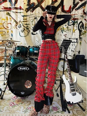 Christmas Red and Black Pie Series Punk Red Plaid Smock Pants by Virtual Orbit