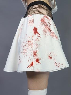 Shelter Series Punk Mesh Stitching Blood Puff Skirt by Virtual Orbit