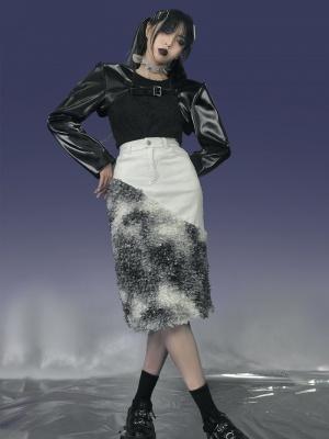 Y2K Punk Open Shoulder Long Sleeves Sweater / PU Leather Sleeves by Virtual Orbit