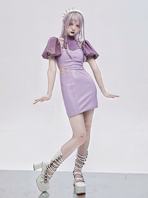 Virtual Dream Punk Open Shoulder Short Puff Sleeves Hollow Mini Dress by Virtual Orbit