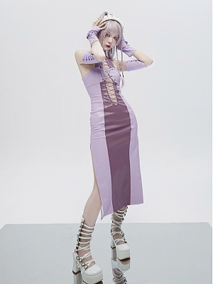 Virtual Dream Punk Sexy Halter Hollow Cross String Tie Double Slit Dress by Virtual Orbit