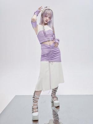 Virtual Dream Punk Round Neckline Sleeveless Hollow Drawstring Dress by Virtual Orbit