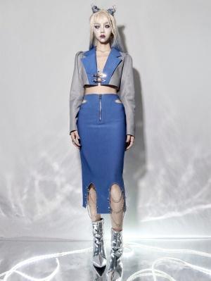 Emotional Invasion Y2K High Waist Chain Decorative Hollow Skirt