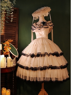 A Step Far Ruffled Off-the-shoulder Neckline Empire Waist Elegant Lolita Dress JSK