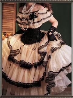 A Step Far Ruffled Elegant Lolita Dress Matching Fish-bone Girdle