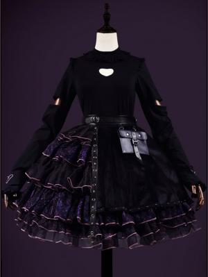 Devil's Heart Black Tiered Skirt Gothic Lolita SK by Weaving Dream Hall