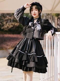 BAD J Night Talk Asymmetrical Lolita Skirt / Lapel Collar Jacket Set by With PUJI