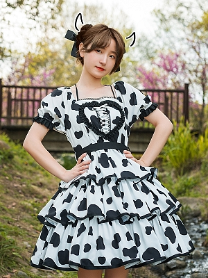 Nougat Cow Prints Tiered Skirt Lolita Dress OP by With PUJI
