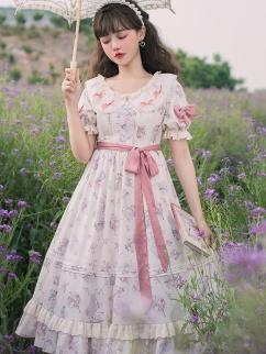 Short Puff Sleeves Floral Lolita Dress OP by YINGLUOFU