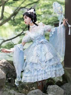Open Shoulders Han Lolita Dress JSK Set by YINGLUOFU