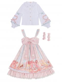 Doggy Donuts Sweet Lolita Dress JSK / Balloon Sleeves Shirt by YINGLUOFU