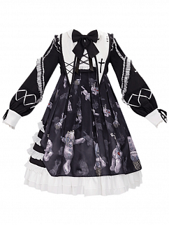 The Resentful Doll Pointed Collar Lolita Dress OP by YINGLUOFU