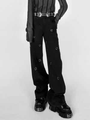 Punk Metal Loops Denim Pants by YUBABY