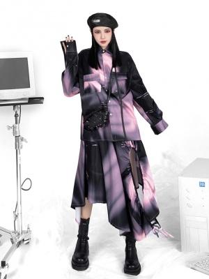 Cyberpunk Y2K Digital Prints Long Sleeves Gradient Shirt by YUBABY