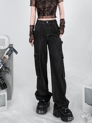 Vintage Hot Girl Multi-pocket Wide Legs Denim Pants by YUBABY