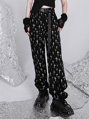 Cross Doodle Print High Waist Side Release Buckle Pants by YUBABY
