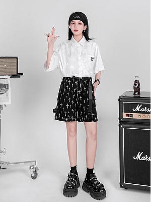 Punk Dragon Pattern Jacquard Short Sleeves Shirt by YUBABY
