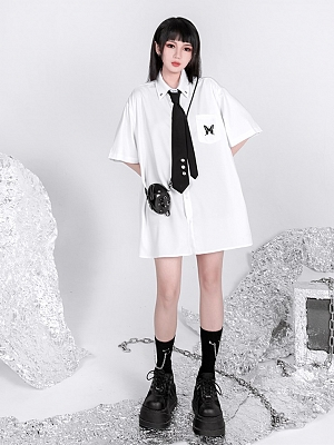 Punk JK 3/4 Sleeves Swallowtail Butterfly Embroidered Shirt by YUBABY