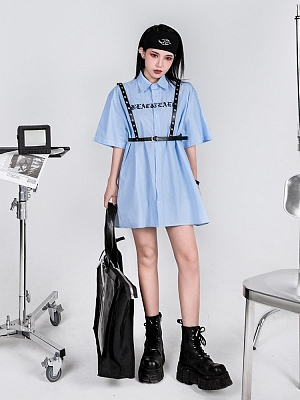 Gothic Sanskrit Letters Embroidered Short Sleeves Striped Shirt by YUBABY