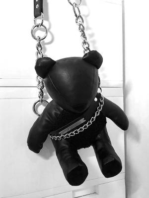 Punk PU Leather Teddy Bear Metal Chain Waterproof Crossbody by YUBABY