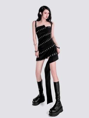 Punk Removable Webbing Decorative Irregular Cami Dress by YUBABY