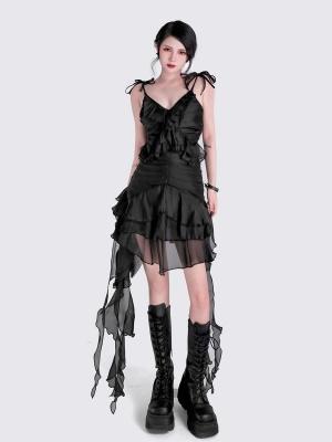 Punk Sweetheart Neckline Ribbon Self-tie Cami Dress by YUBABY