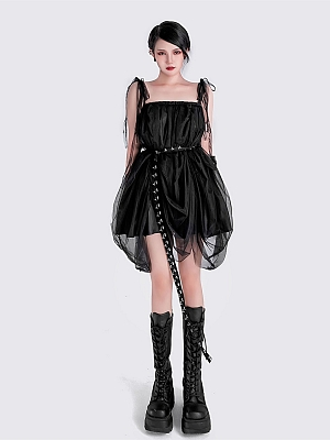 Punk Square Neckline Cami Dress with Waist Belt by YUBABY