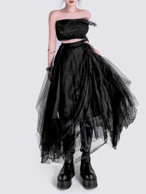 Punk Six Layers Mesh Lace Irregular Skirt by YUBABY