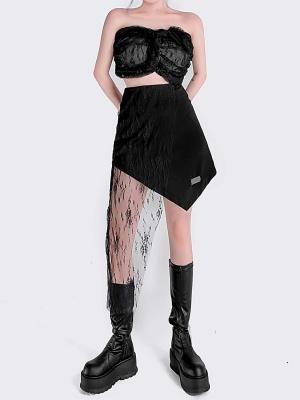Punk Stitching Lace Hem Asymmetrical Skirt by YUBABY