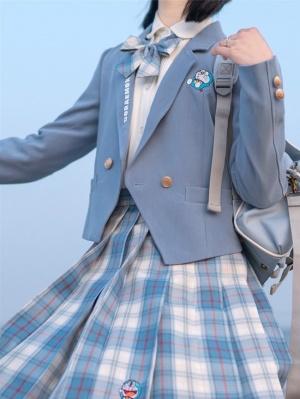 Doraemon Authorized Lapel Collar Long Sleeves Short Jacket by YUESH