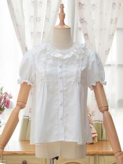 Kirishima Round Neckline Short Sleeves Lolita Shirt by ZhiJinYuan