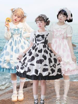 Lolitimes Ranch Tale Square Neckline Empire Waist Cow Prints Lolita Dress JSK
