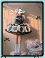 Alice Honey Square Neckline Short Puff Sleeves Sweet Lolita Dress OP Set